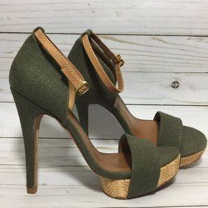 TORY BURCH Amina high heel sandal shoe, green 6.5M